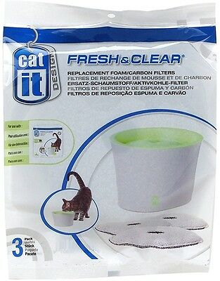Catit Fresh And Clear Replacement Foam/ Carbon Filters, Pack Of 3