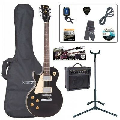Encore EBP-LHE99BLK Electric Left Hand Guitar Outfit Gloss Black Amp Tuner Stand