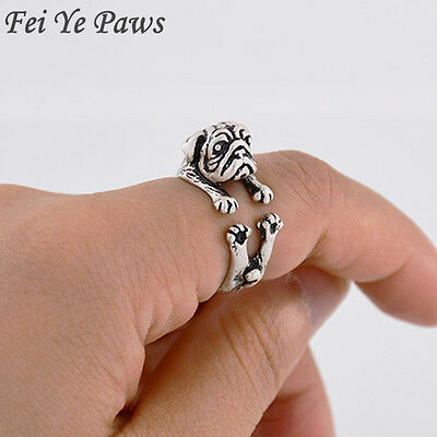 Drop Shipping Real Picture Vintage Silver Love Pug Ring Anillos Boho Anel Dog...