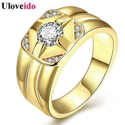 Uloveido 50% off Wedding Rings for Men 2017 Anel Rose Gold Color Mens Ring Cu...
