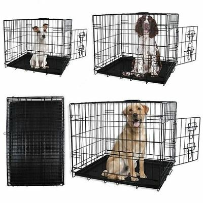 New Dog Puppy Pet Black Metal Cage Small Medium Large Pet Carrier Travel Cage
