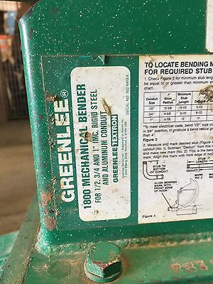 Greenlee 1800 Mechanical Bender Used Good Working Condition