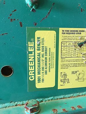 Greenlee 1801 Mechanical Bender Used Good Working Condition