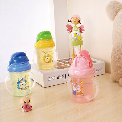 Random Color Tool Infant Water Bottle Sippy Baby Straw Cup With Handle