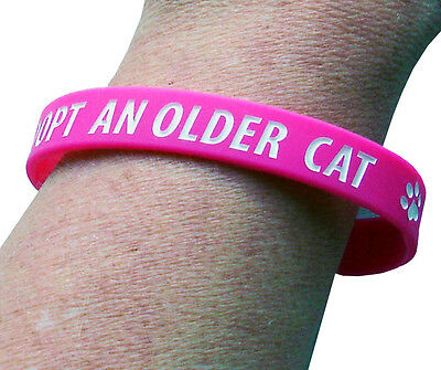 Adopt An Older Cat Charity Wristband, Pink, Adult Size, 100% To Charity