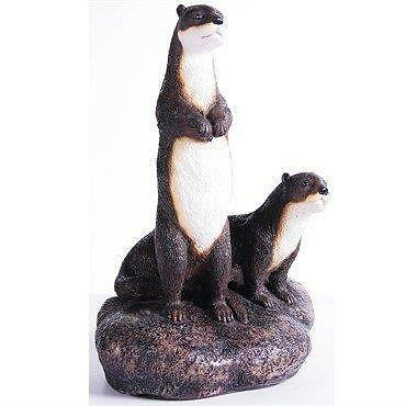 Otter Pair on Rock Indoor Outdoor Stone Resin Sculpture Figurine New