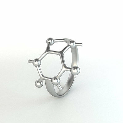 SMJEL 2017 new Silver Color  Caffeine Molecule Rings for Women Chemistry Jewe...