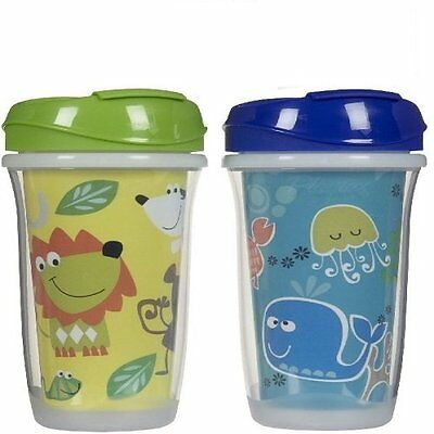 Playtex Playtime Insulated Spill-proof Spoutless Cups, 9 oz, 2 Ct Animals/Sea