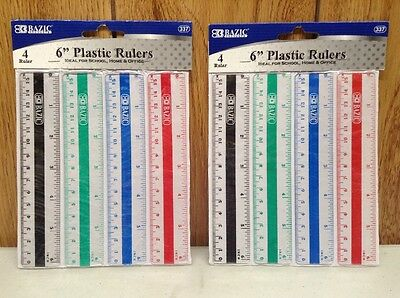 Pack of 2: BAZIC Plastic Ruler, 6 Inch, 4 Per Pack (8 total)