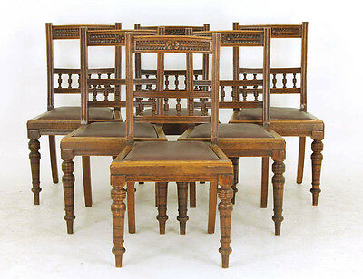 Vintage Dining Chairs | Carved Oak Chairs |T Wallis Co. | Victorian, 1890 | B795