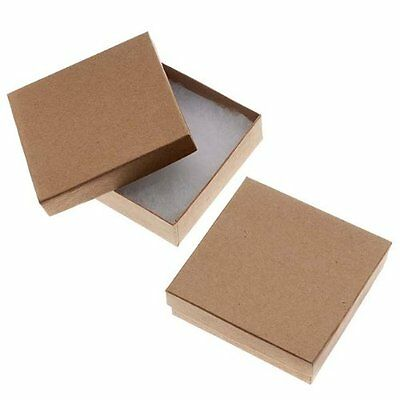 Gift Boxes 16-Piece Kraft Square Cardboard Jewelry Boxes, 3.5 By 1-Inch, Brown