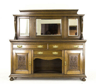 Antique Oak Sideboard | Victorian Oak Buffet | Mirror Back SIdeboard | B796