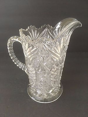 "Vintage Cut Glass 6.5"" Tall Round Clear Pitcher Carafe Decanter Decorative"