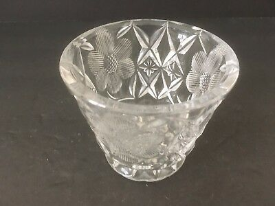 "Vintage Round Cut Glass Decorative 3"" Candy Nut Bowl Container Collectible"