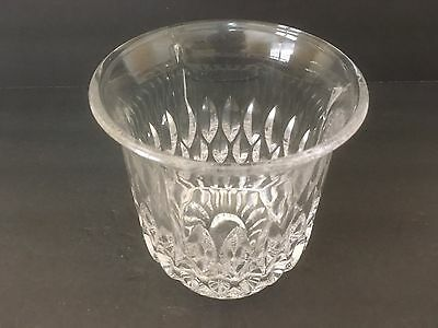 """Vintage Cut Glass 5.5"""" Tall Round Clear Ice Bucket Vase Container Decorative"""