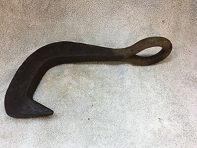"12"" Huge Hand Forged Hammered Solid Eyelet Wrought Iron Hook"