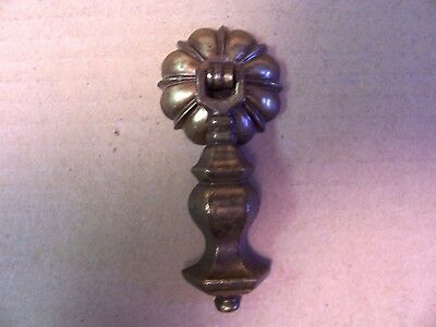 (1) Vintage Brass Finish Drawer Pull / Handle -- Original Screw Included
