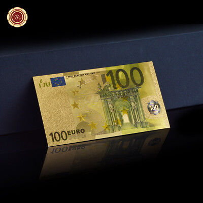 WR 24K Gold Foil European 100 Euro Banknote World Money Holiday Gift for Friends