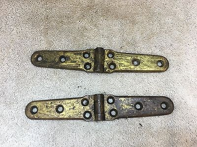 """2 Antique Solid Brass Hinges 7"""""""