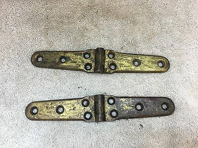 2 Antique Solid Brass Hinges 8""