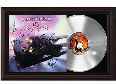 Deep Purple - Platinum LP Record With Reprinted Autographs In Cherry Wood Frame