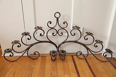 Antique Wrought Iron Candelabra Wall Sconce Shabby Chic Patina Country 10 Arms
