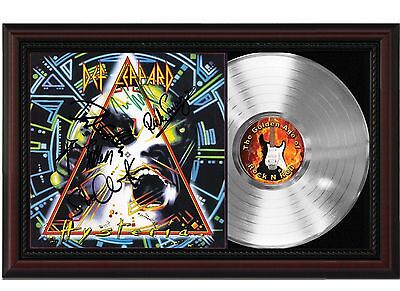 Def Leppard - Platinum LP Record With Reprinted Autographs In Cherry Wood Frame
