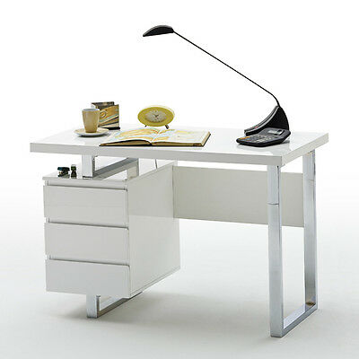 ModaNuvo Computer Office Desk White or Black High Gloss & Chrome with Drawers