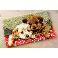 Vervaco PN-0143943 | Large Hole Canvas Puppies Rug Latch Hook Kit