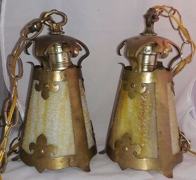 Pair Antique Mission Arts & Crafts Brass Hanging Light w/ Caramel Slag Glass