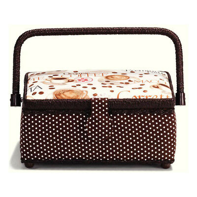 Prym 612276 Coffee Print Sewing Basket | 26 x 21 x 12cm