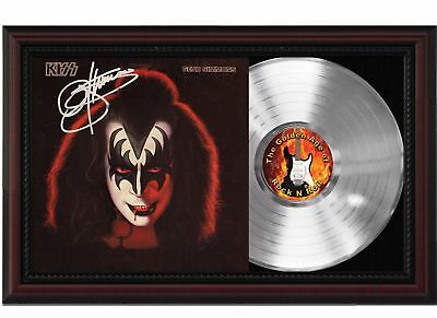 Gene Simmons - Kiss - Platinum LP Record With Reprint Autograph In Wood Frame