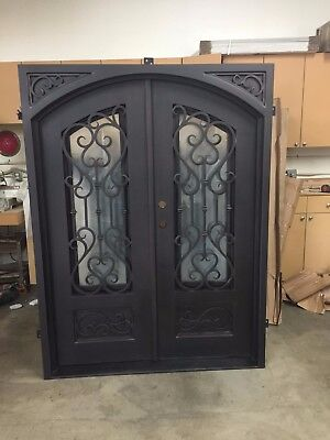 "Atlantis Wrought Iron Entry Door 61.5""W x 81""H Frost Glass Right Swing In Stock"
