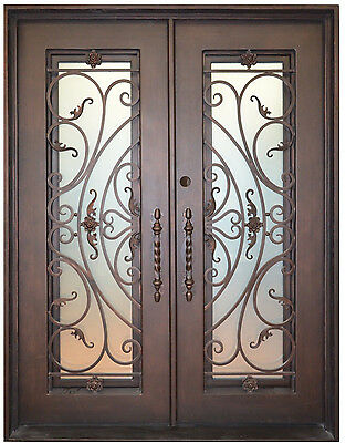 "Andover Wrought Iron Entry Door 61.5""W x 81""H Frost Glass Right Swing In Stock"