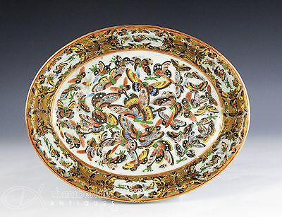 Fine Antique Chinese 1000 Butterfly Oval Serving Bowl With Gilt