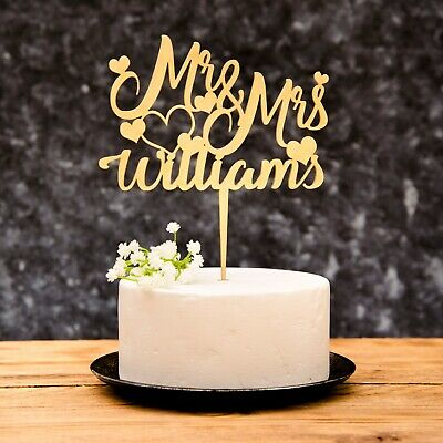 Personalised Mr and Mrs Wedding Cake Topper Gold, Silver,Rose Gold