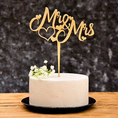 Mr & Mrs Wedding Cake Topper with heart details Rose Gold, Gold, Silver, Wooden