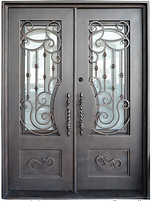 "Allendale Wrought Iron Entry Door 61.5""W x 81""H Frost Glass Right Swing In Stock"