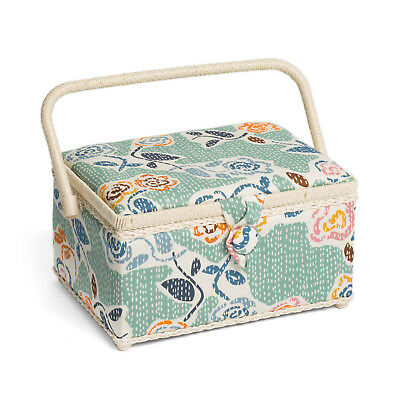 Hobby Gift HGM/232 | Floral Stab Stitch Medium Sewing Basket | 18.5x26x16cm