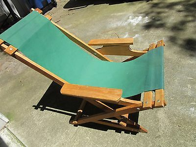 Vintage Wood Folding Beach Chaise Sling Lounge Deck  Chair - Green Canvas