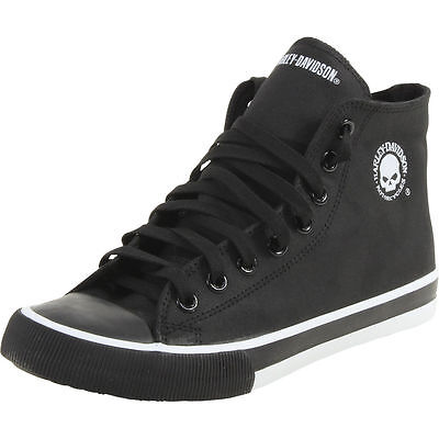 Harley-Davidson® D93341 Men's Baxter Black/White Skull Hi-Top Sneakers Shoe-USA