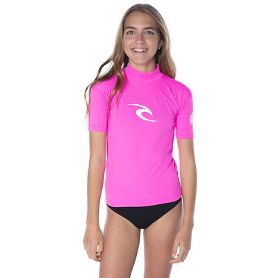 Rip Curl Girls JNR Corpo Short Sleeve Rash Vest in Pink