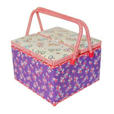 Twin-Lid Sewing Box with Removal Tray, Built in Pincushion, & Storage Pocket
