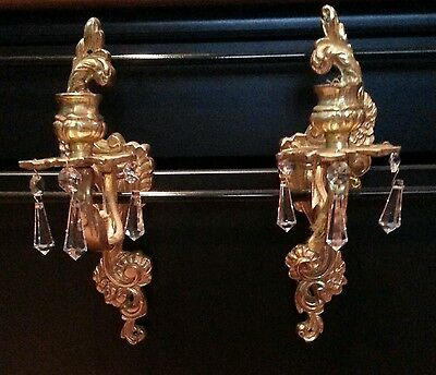 Vintage French Glided Brass Or Bronze Crystal Sconces!