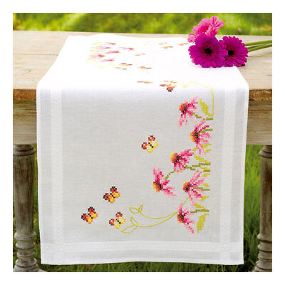 Embroidery Kit Runner Echinacea and Butterfly on Cotton Fabric |40 x 100cm
