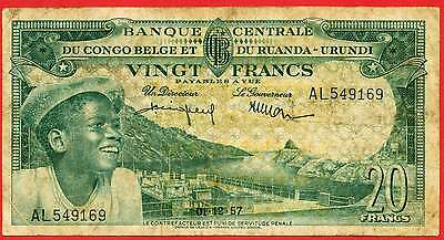 1957  Belgian Congo   =  20.   Francs   World  paper money  currency bank note