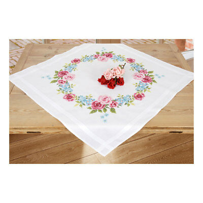 Embroidery Kit Tablecloth Floral Wreath Design Stitched on Cotton Fabric 80x80cm
