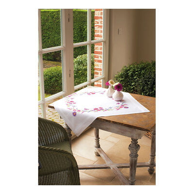 Embroidery Kit Tablecloth  Colourful Flowers Stitched on Cotton Fabric  80x80cm