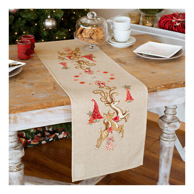 Embroidery Kit Runner Jumping Reindeers Design on Cotton Fabric |Size 40x100cm