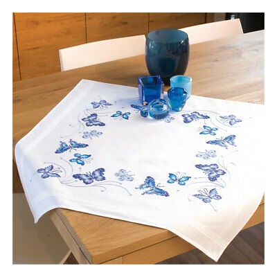 Embroidery Kit Tablecloth Blue Butterflies Design Stitched on Ecru |Size 80x80cm
